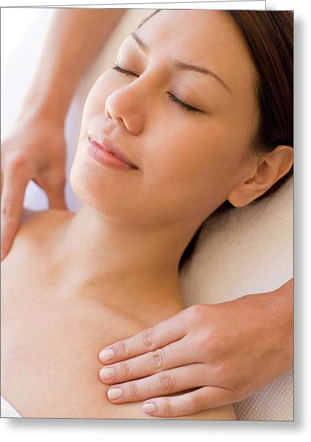 Massage Greeting Card by Ian Hooton/science Photo Library