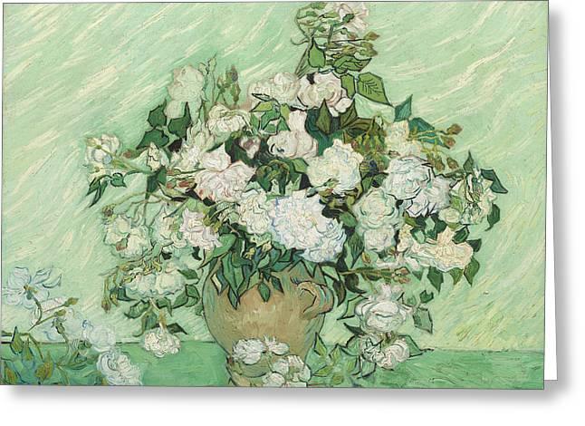 Roses Greeting Card by Vincent van Gogh