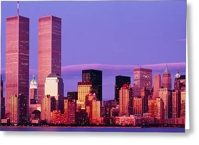 Skyscrapers In A City, Manhattan, New Greeting Card
