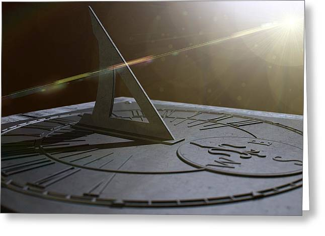 Sundial Lost In Time Greeting Card by Allan Swart