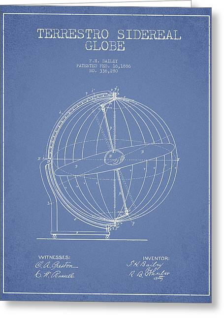 Terrestro Sidereal Globe Patent Drawing From 1886 Greeting Card by Aged Pixel