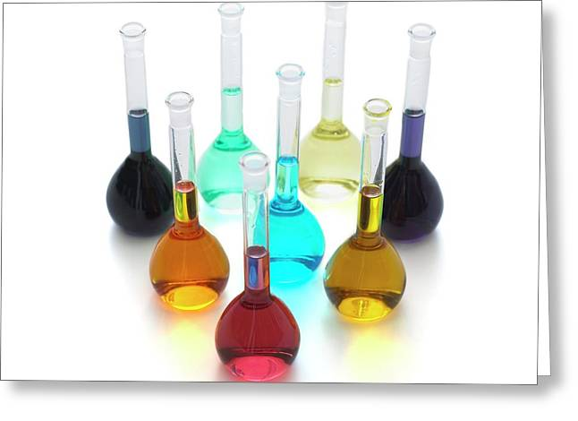 Transition Element Salts In Solution Greeting Card by Science Photo Library