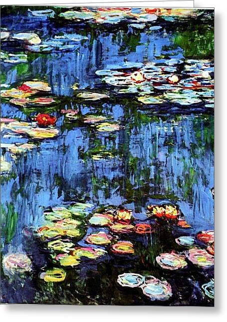 Greeting Card featuring the painting Waterlilies  by Claude Monet