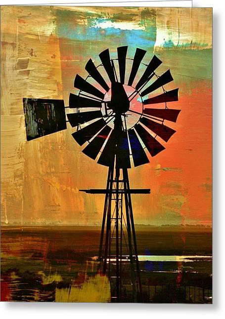 Windmill Waterpump Greeting Card by Werner Lehmann