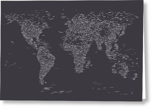 World Map Of Cities Greeting Card by Michael Tompsett