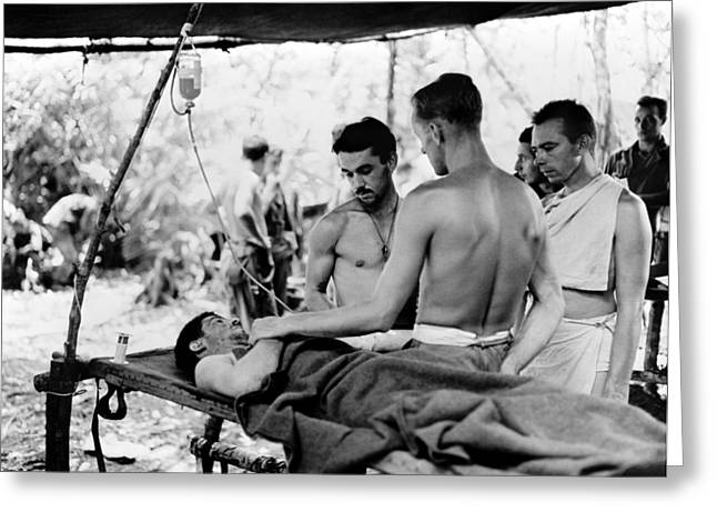 Greeting Card featuring the photograph World War II New Guinea by Granger