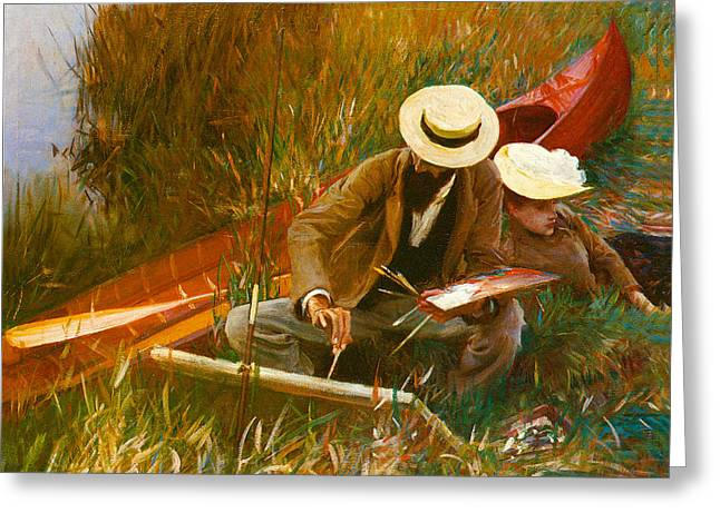 Paul Helleu Sketching With His Wife Greeting Card by John Singer Sargent