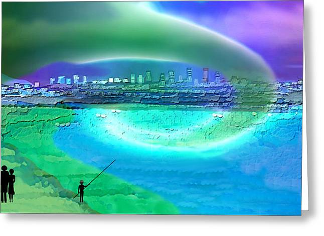920 - Blue City On The Sea Greeting Card