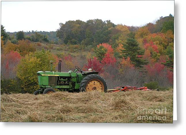 #924 D749 John Deere Tractor On Woodsom Farm In Amesbury Ma Greeting Card