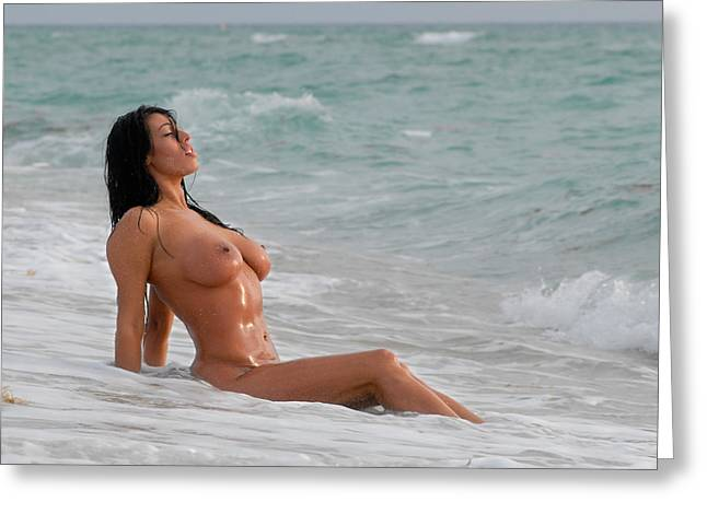 9640 Beautiful Nude Woman Washed By The Ocean Waves Greeting Card