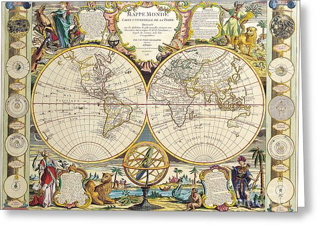 Antique Map Greeting Card by Baltzgar