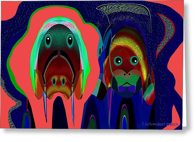 984 - Alien Doggies Greeting Card by Irmgard Schoendorf Welch