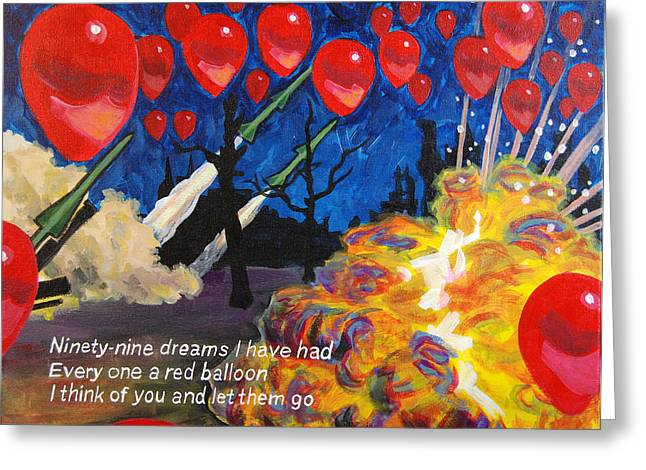99 Red Balloons Greeting Card
