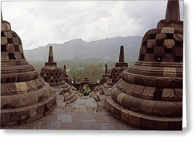 9th Century Buddhist Temple Borobudur Greeting Card by Panoramic Images