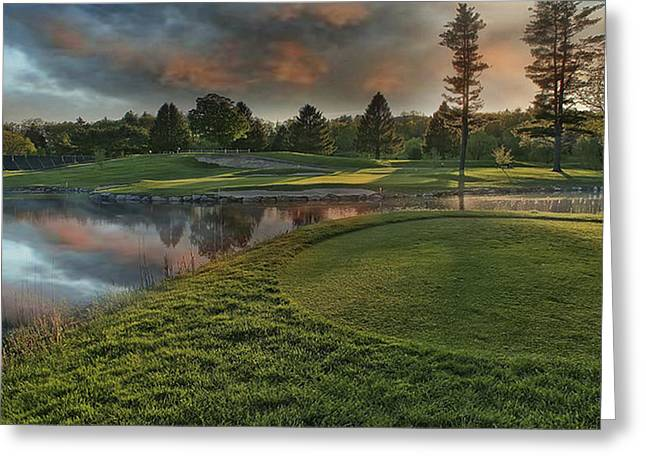 9th Hole Storm Clouds Greeting Card