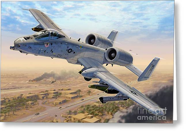 A-10 Over Baghdad Greeting Card by Stu Shepherd