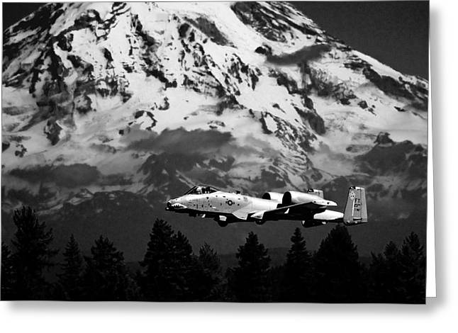 A-10 Over Mt. Rainier Greeting Card