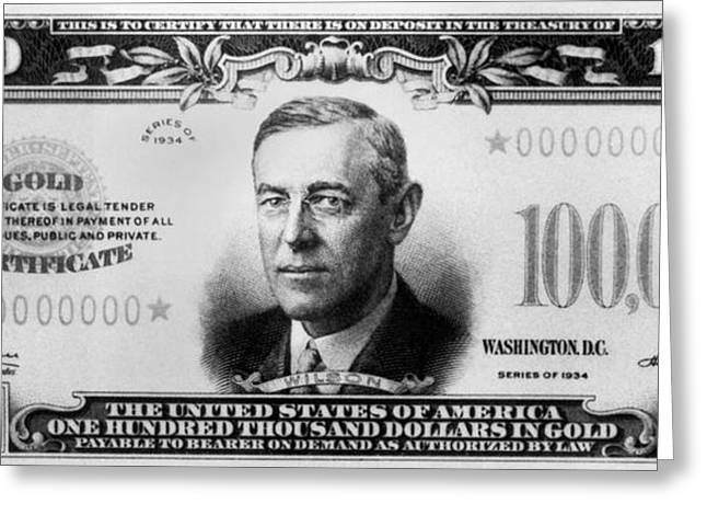 A $100,000 Bill Greeting Card by Underwood Archives