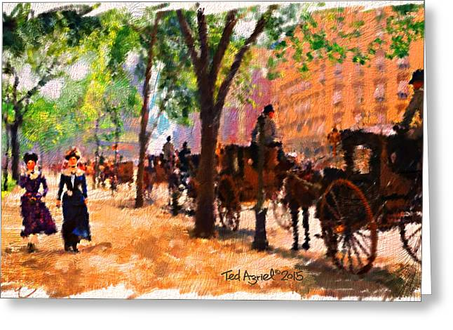A 1890's Walk Near Central Park Greeting Card