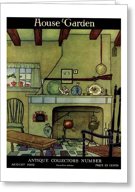 A 1920's Idea Of A Colonial Kitchen Greeting Card