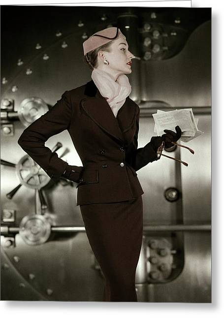 A 1950s Model Wearing A Tweed Suit Greeting Card by  Leombruno-Bodi