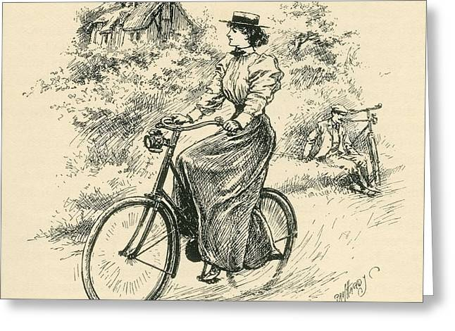 A 19th Century Female Cyclist Greeting Card by English School