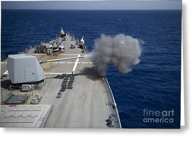 A 5-inch Gun Is Fired Aboard Uss Greeting Card by Stocktrek Images