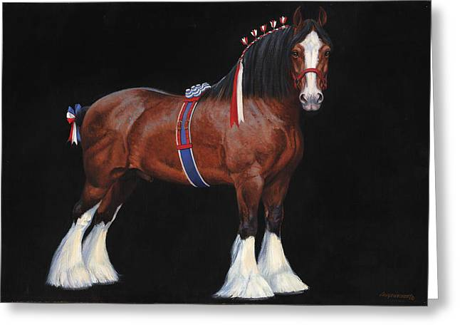 Clydesdale Champion Stallion Greeting Card by Don  Langeneckert