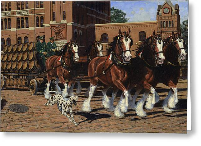 Five Horse Hitch - Dalmation Greeting Card by Don  Langeneckert