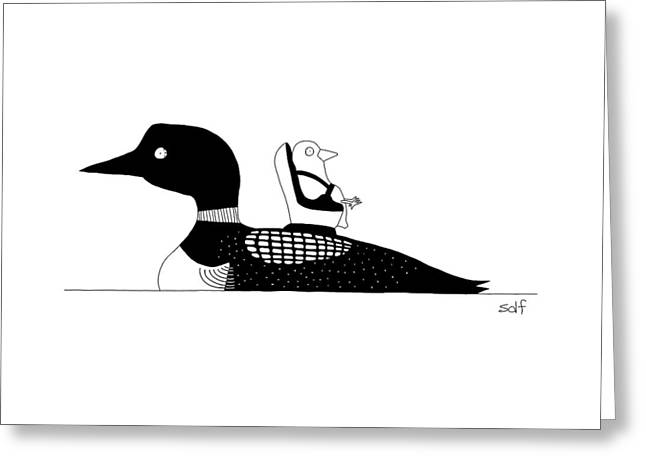 A Baby Duck In A Tiny Car Seat On The Mother Greeting Card