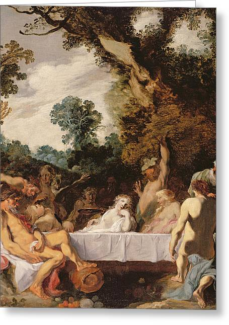 A Bacchanalian Feast, C.1617 Greeting Card by Johann Liss or Lis or von Lys