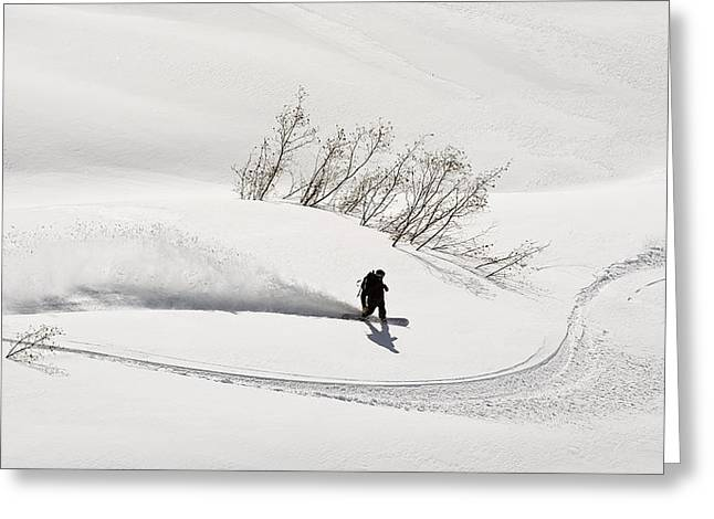A Backcountry Snowboarder Carving In Greeting Card by Chris Miller