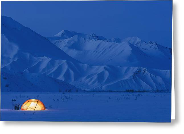 A Backpacking Tent Lit Up At Twilight Greeting Card