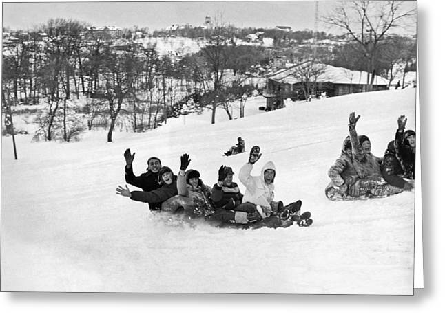 A Backwards Toboggan Ride Greeting Card by Underwood Archives