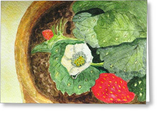 Greeting Card featuring the painting A Balcony Strawberry Plant by Angela Davies