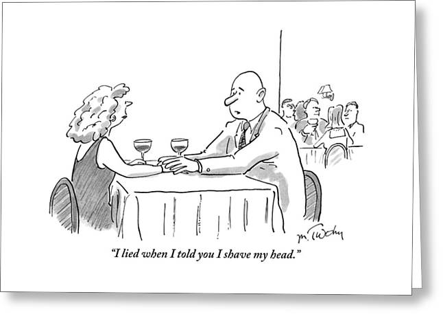 A Bald Man Speaks To A Woman At A Restaurant Greeting Card