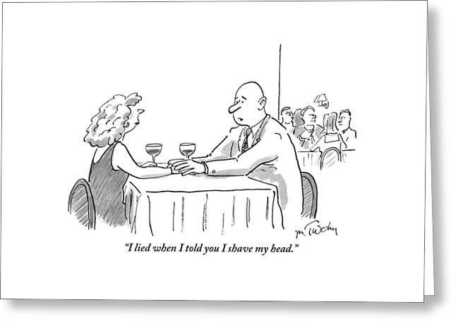 A Bald Man Speaks To A Woman At A Restaurant Greeting Card by Mike Twohy