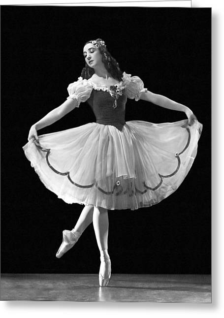 A Ballet Dancer En Pointe Greeting Card by Underwood Archives