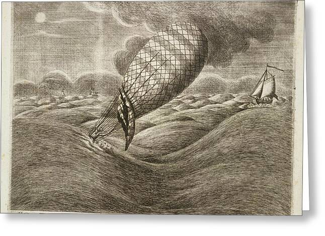 A Balloon In Danger At Sea Greeting Card