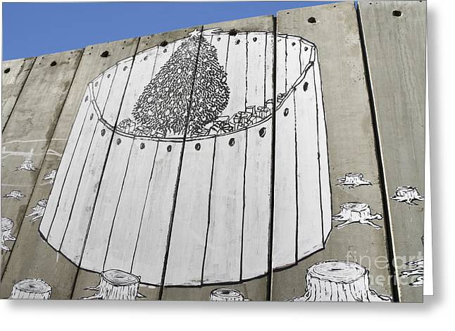 A Banksy Graffiti On The Separation Wall In Palestine Greeting Card by Roberto Morgenthaler