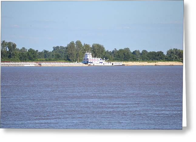 A Barge On The Mississippi River Greeting Card by Kim Stafford