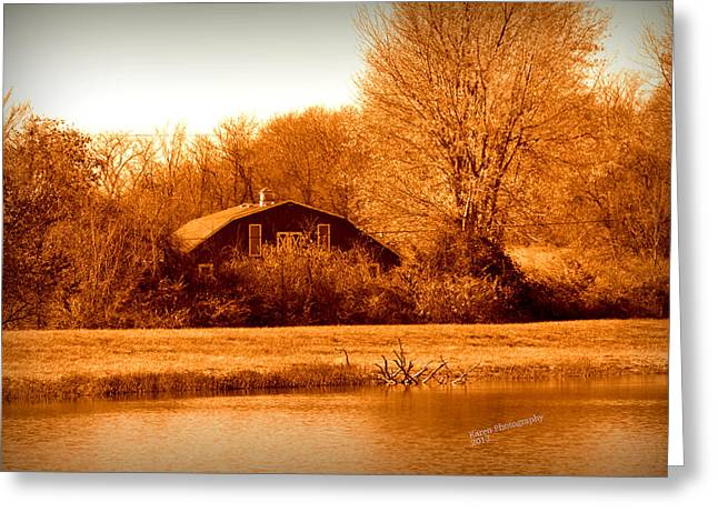 A Barn On The Lake Greeting Card by Karen Kersey