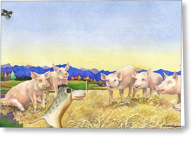 A Barnyard Of Pigs Greeting Card by Anne Gifford