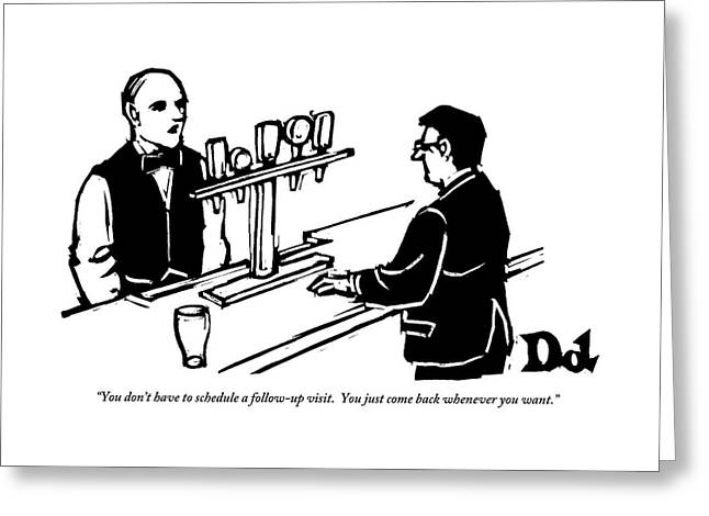 A Bartender Addresses A Man In A Suit Greeting Card