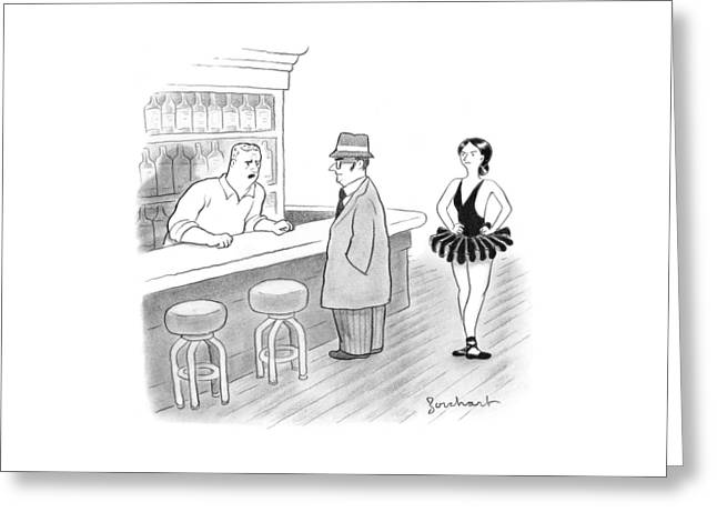 A Bartender Talks To A Member Of The Mafia Greeting Card