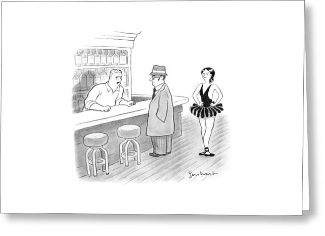 A Bartender Talks To A Member Of The Mafia Greeting Card by David Borchart