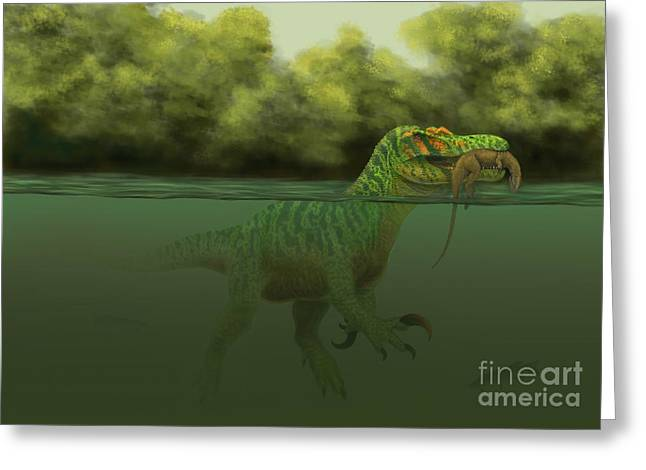 A Baryonyx Escapes Swimming Greeting Card by Alvaro Rozalen