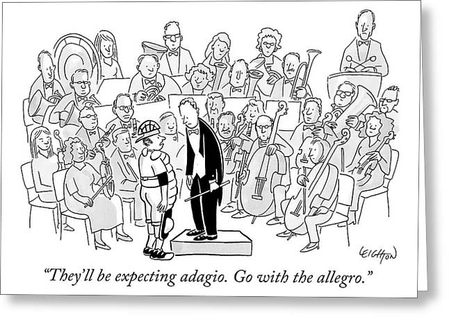 A Baseball Catcher Speaks To An Orchestra Greeting Card