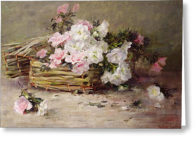A Basket Of Flowers Greeting Card by Margaret von Frankenberg