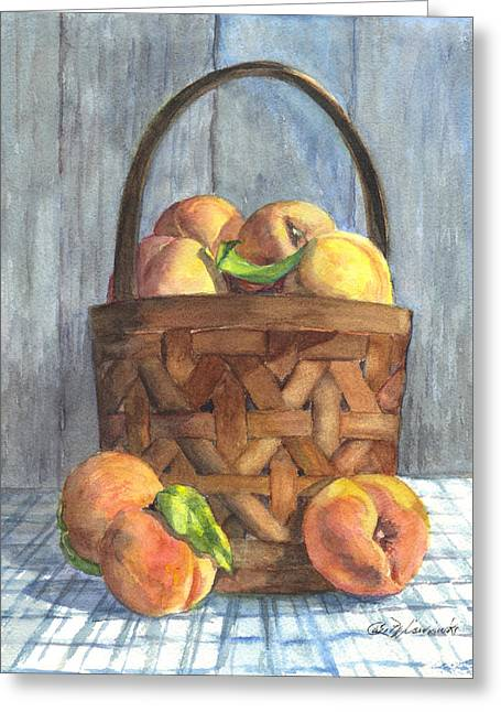 A Basket Of Peaches Greeting Card by Carol Wisniewski